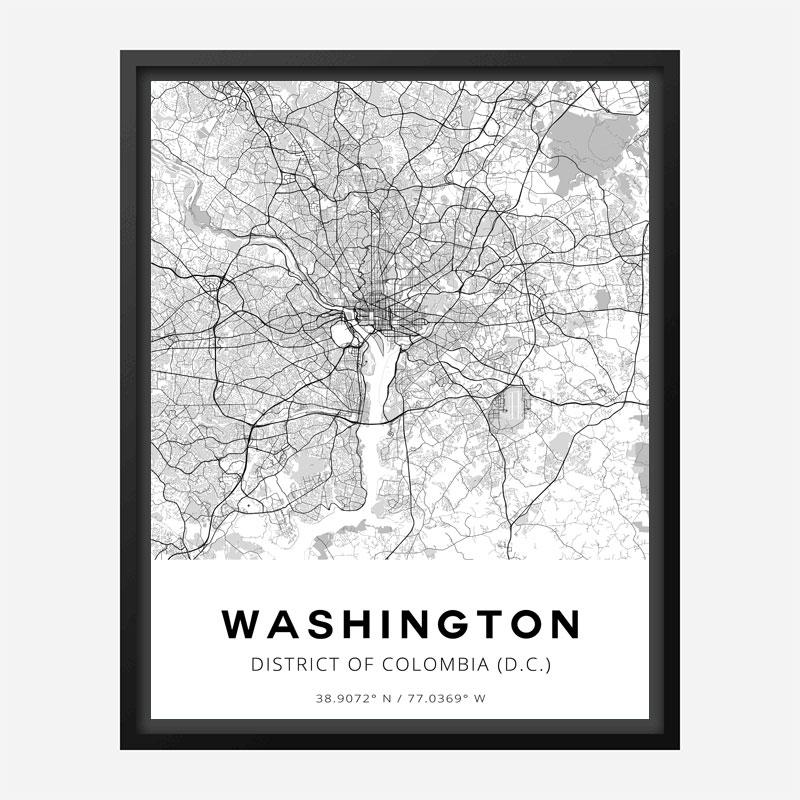Washington District Of Colombia City Map Art Print