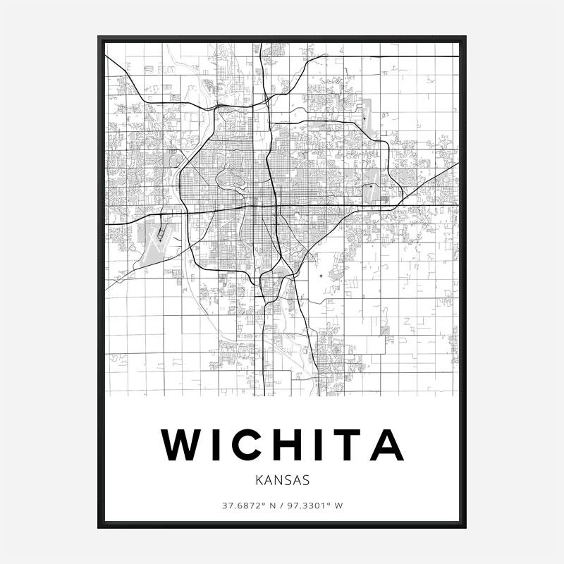 Wichita Kansas City Map Art Print