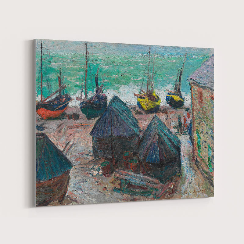 Boats on the Beach at Etretat by Claude Monet Art Print