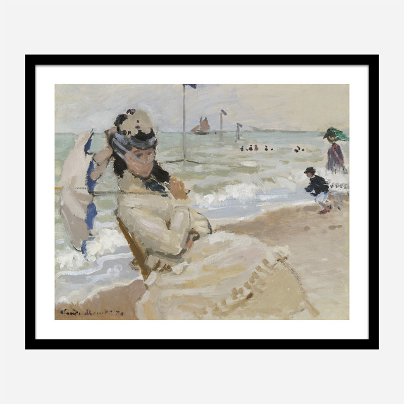 Camille on the Beach in Trouville by Claude Monet Art Print