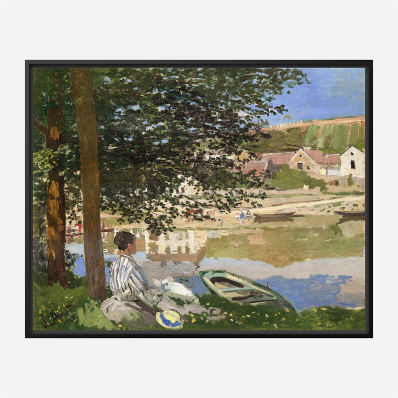 On the Bank of the Seine by Claude Monet Art Print