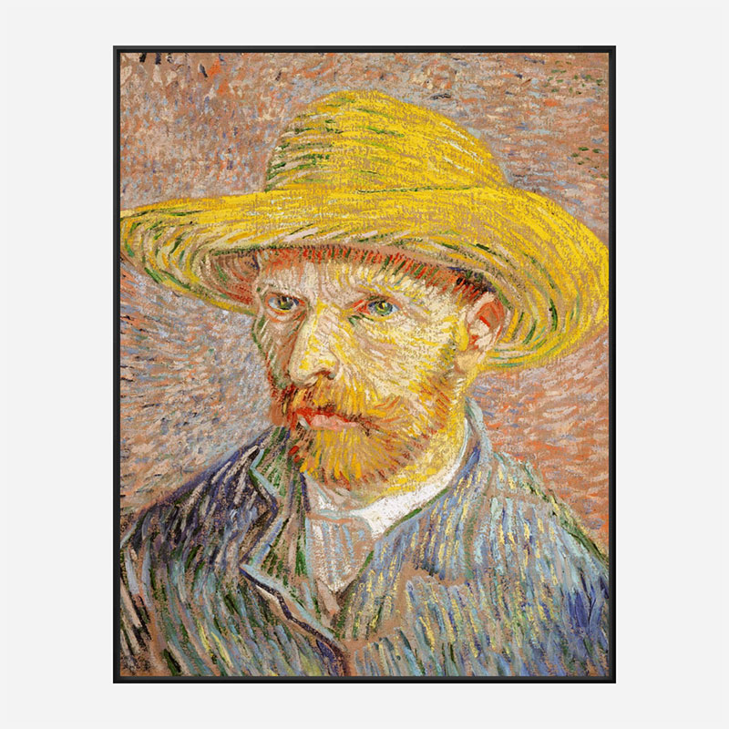 Self-Portrait with a Straw Hat 1887 by Vincent Van Gogh Art Print