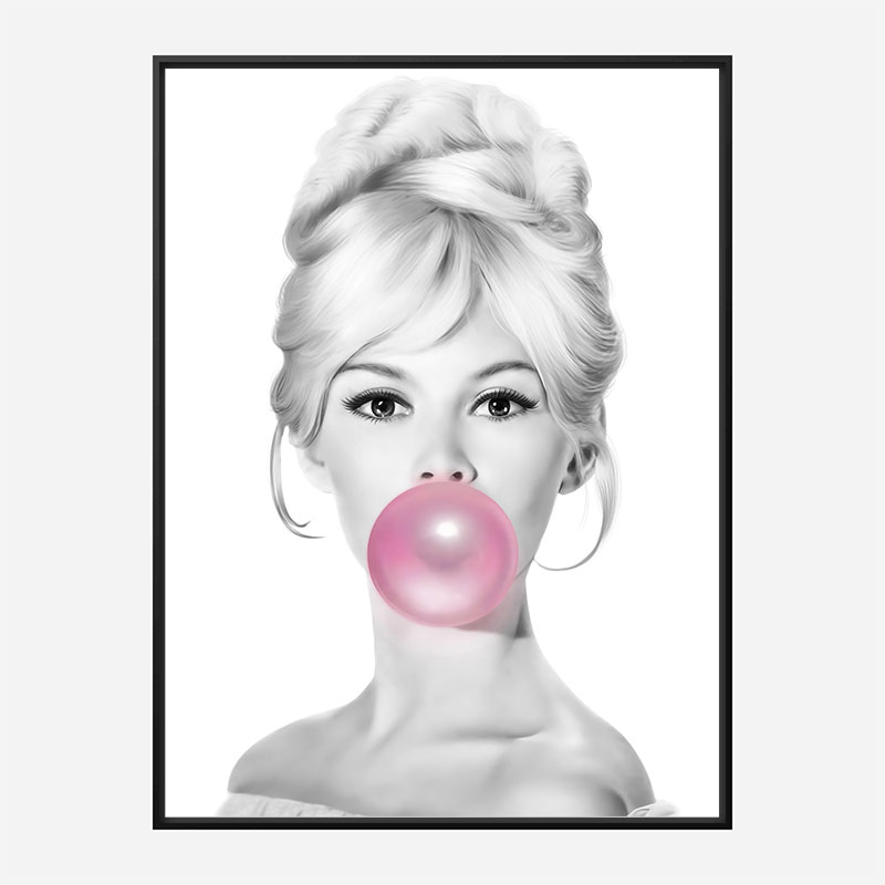 Brigitte Bardot Bubble Gum Art Print