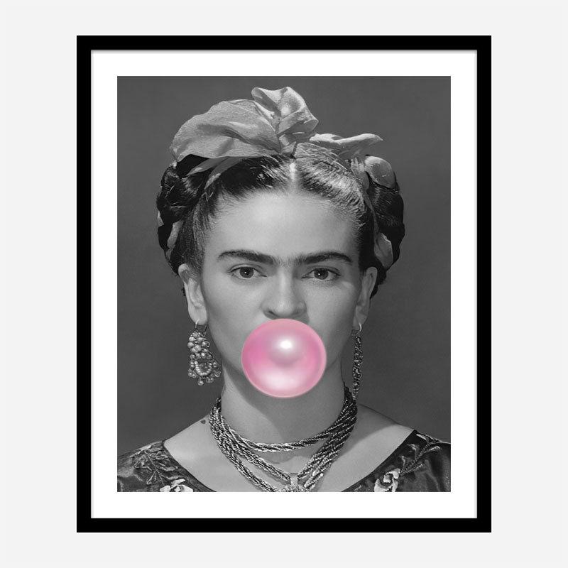 Frida Kahlo Bubble Gum Black & White Art Print