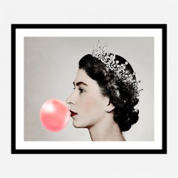 Queen Elizabeth II Bubble Gum Art Print