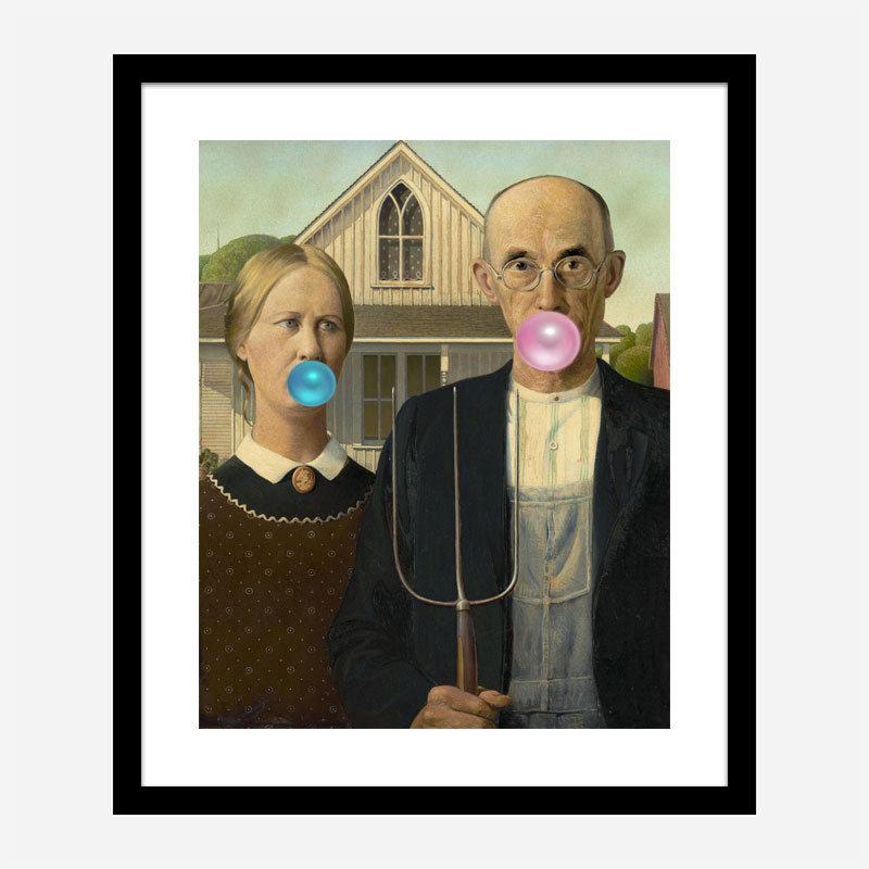 American Gothic Bubble Gum Art Print