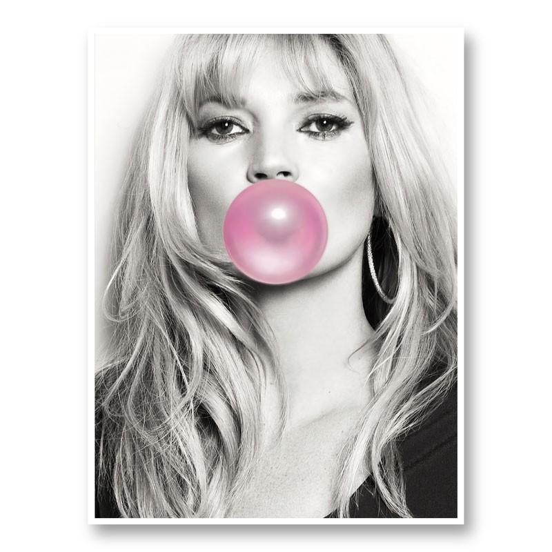 Kate Moss Bubble Gum Art Print