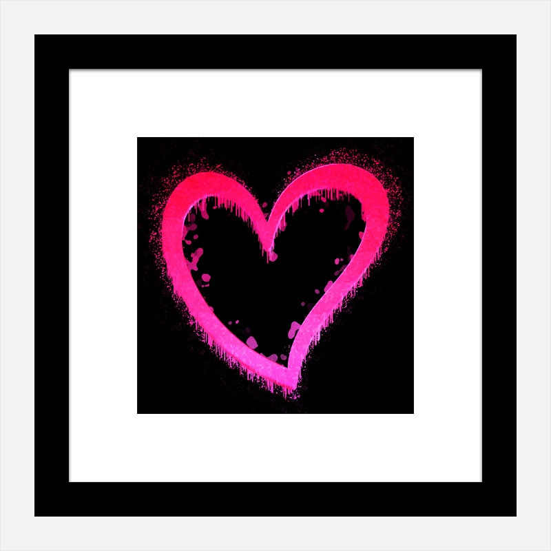 Pink Heart On Black Pop Art Print