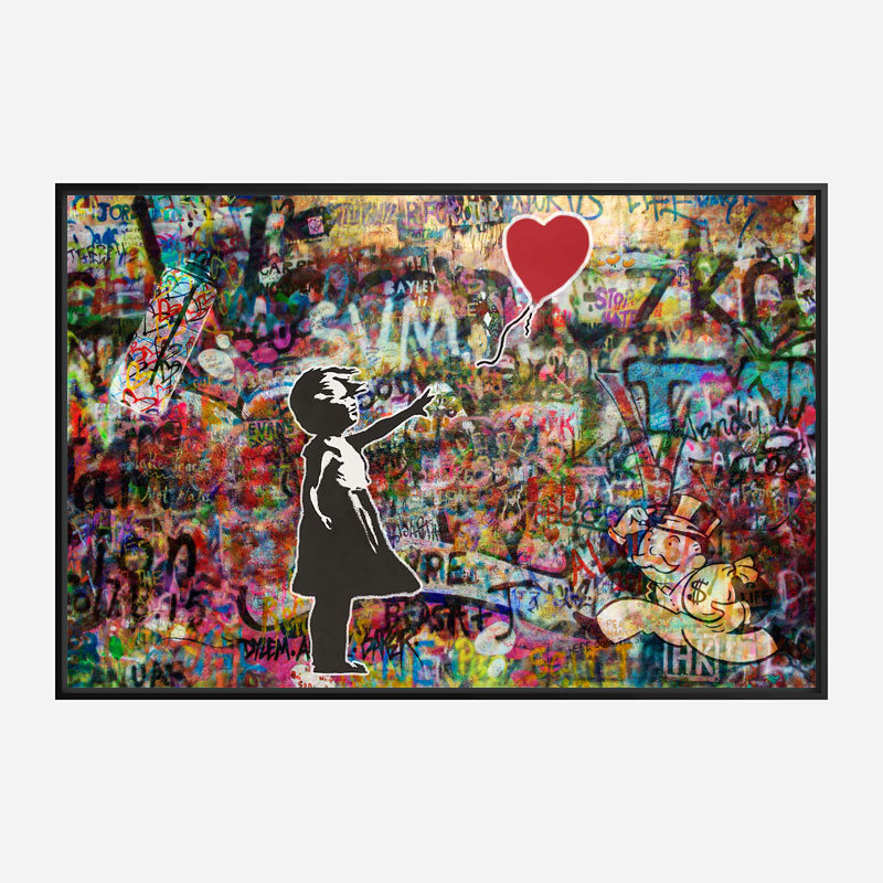 Girl with Balloon Graffiti Wall Art