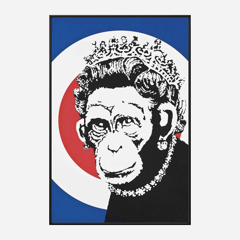 Monkey Queen Banksy Art Print