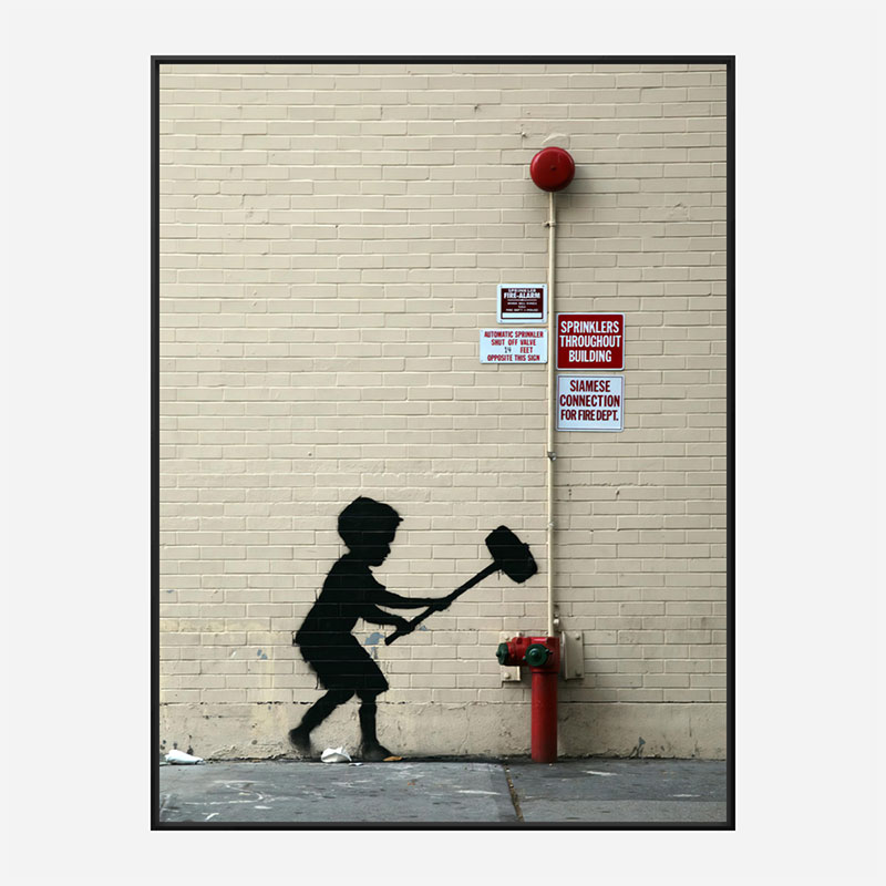 Fire Hydrant Mural by Banksy Art Print
