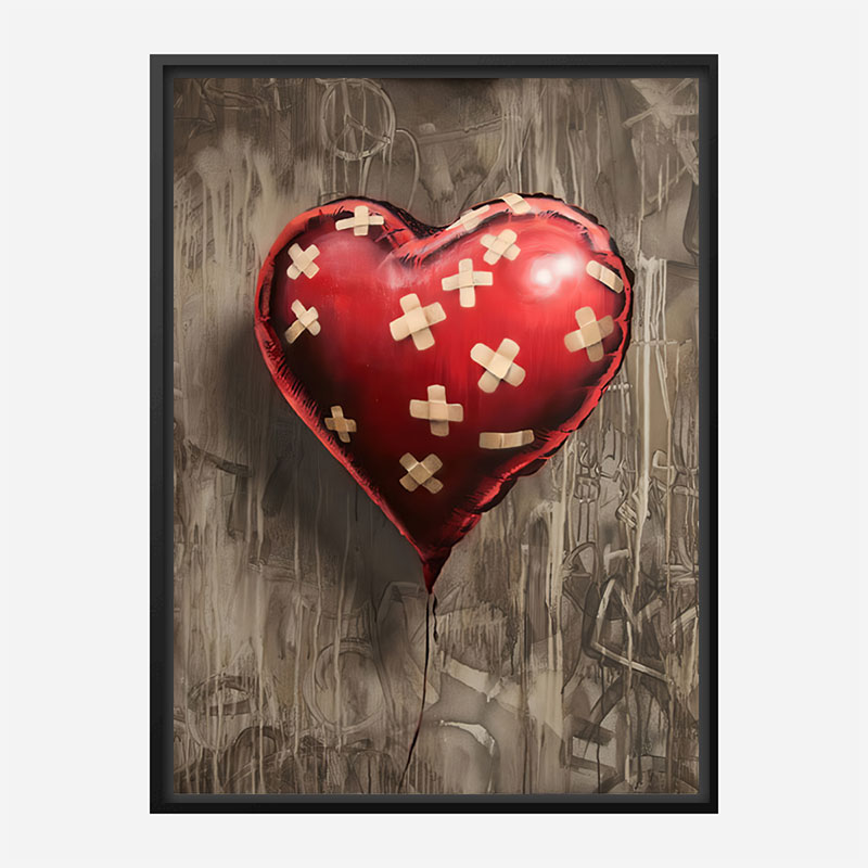 Bandaged Heart Balloon by Banksy Art Print