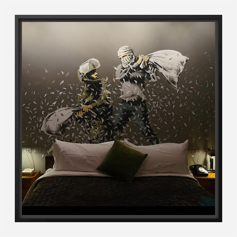 Walled Off Hotel Pillow Fight by Banksy Art Print