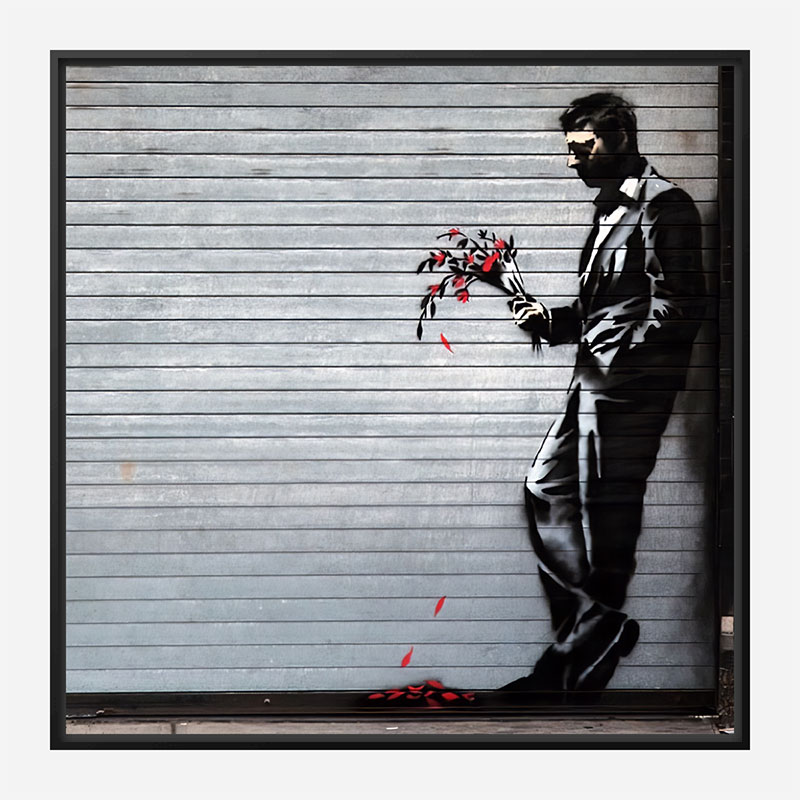 Waiting In Vain… at the door of the club by Banksy Art Print