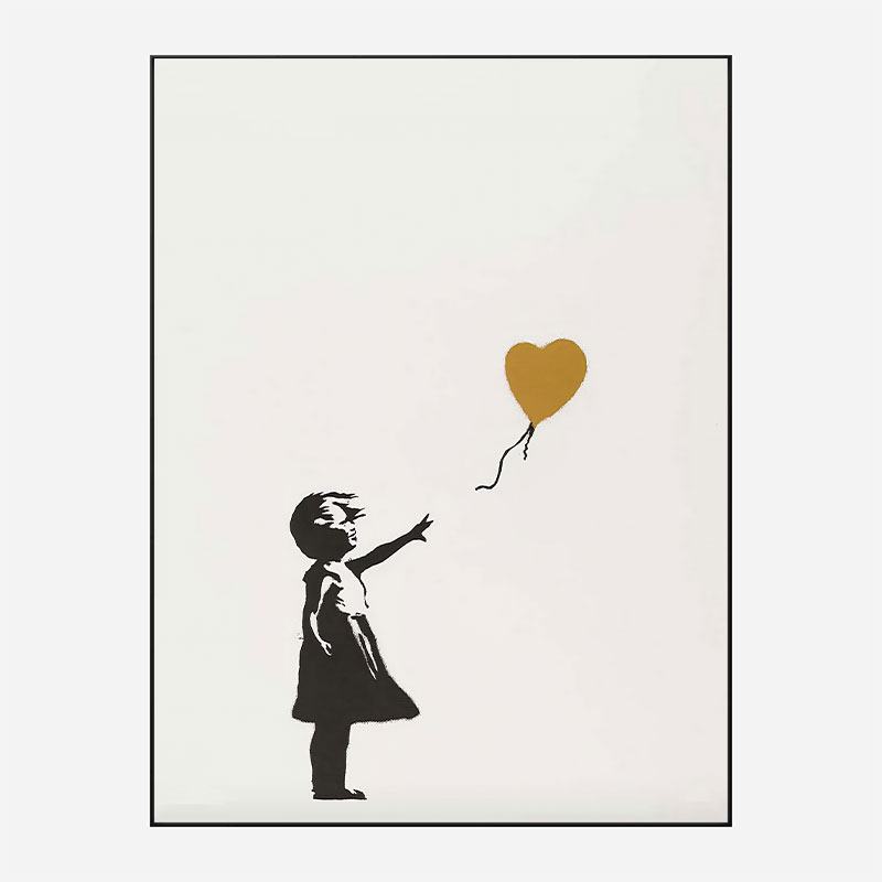 Banksy Girl with Gold Balloon Art Print
