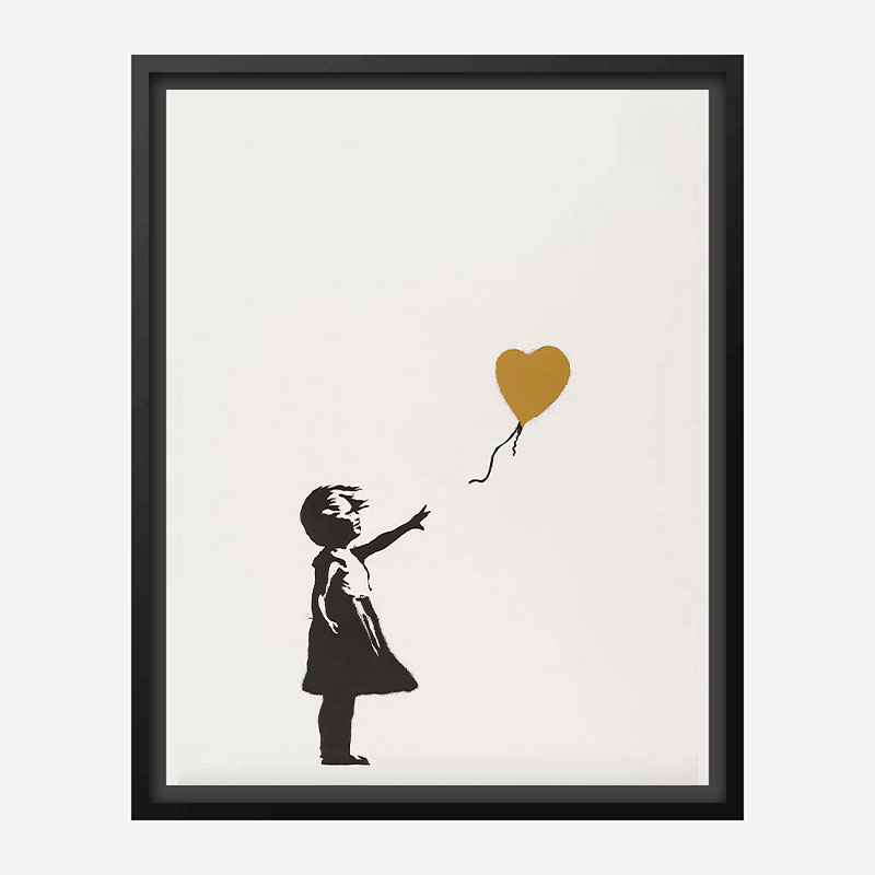 Banksy Girl with Gold Balloon Art Print