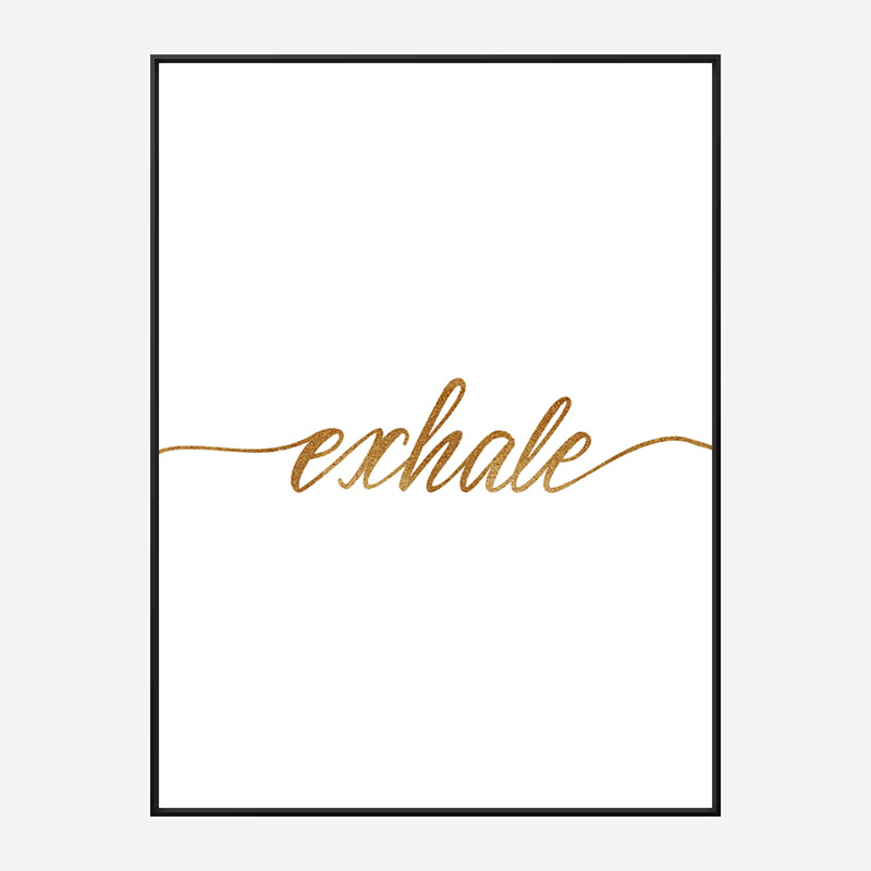 Exhale Gold Typography Wall Art
