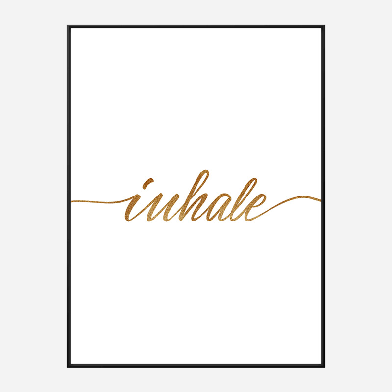 Inhale Gold Typography Wall Art