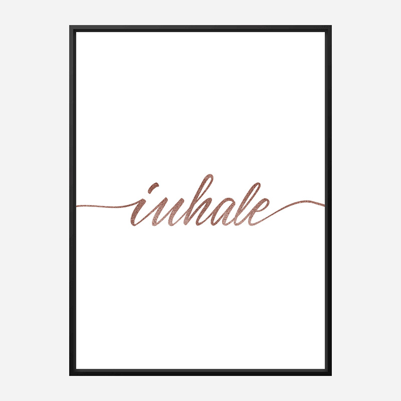 Inhale Rose Gold Typography Wall Art