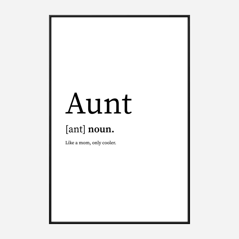 Aunt Definition Typography Wall Art