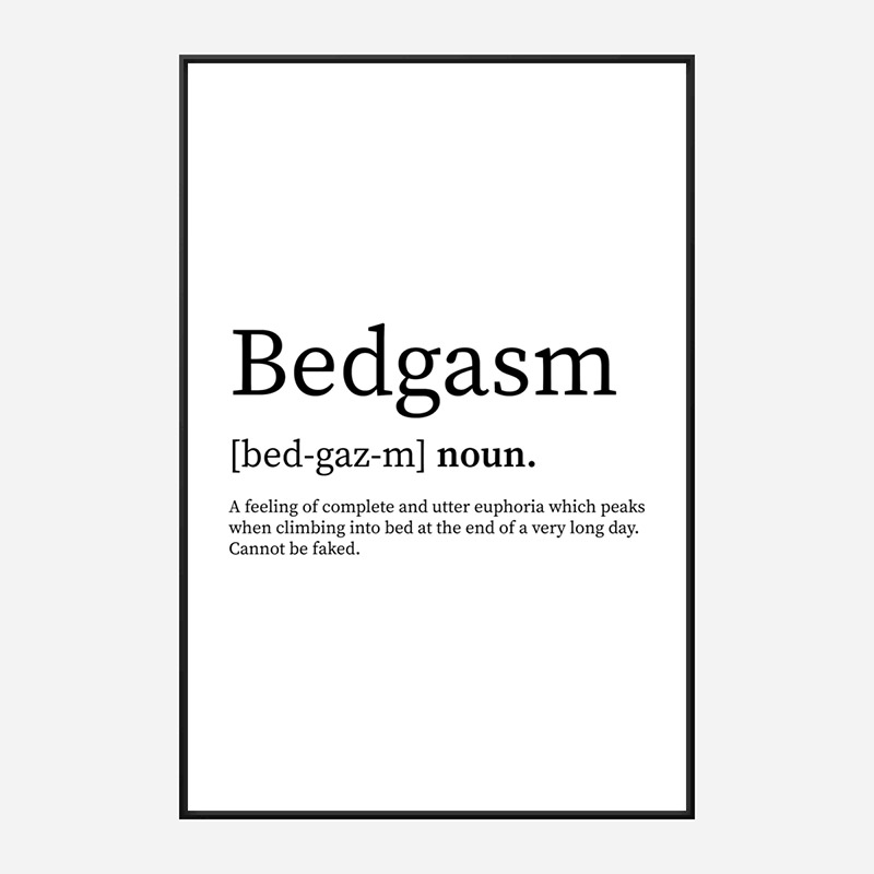 Bedgasam Definition Typography Wall Art