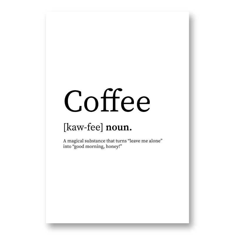 Coffee Definition Typography Wall Art