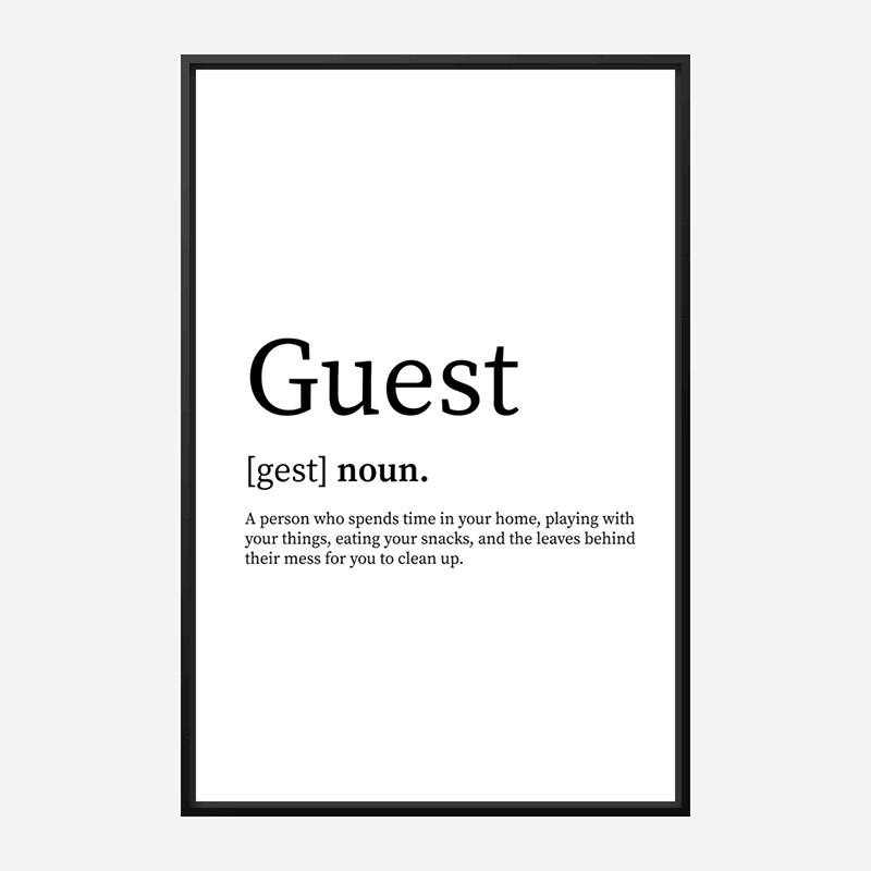 Guest Definition Typography Wall Art