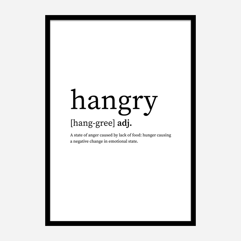 Hangry Definition Typography Wall Art