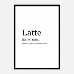Latte Definition Typography Wall Art