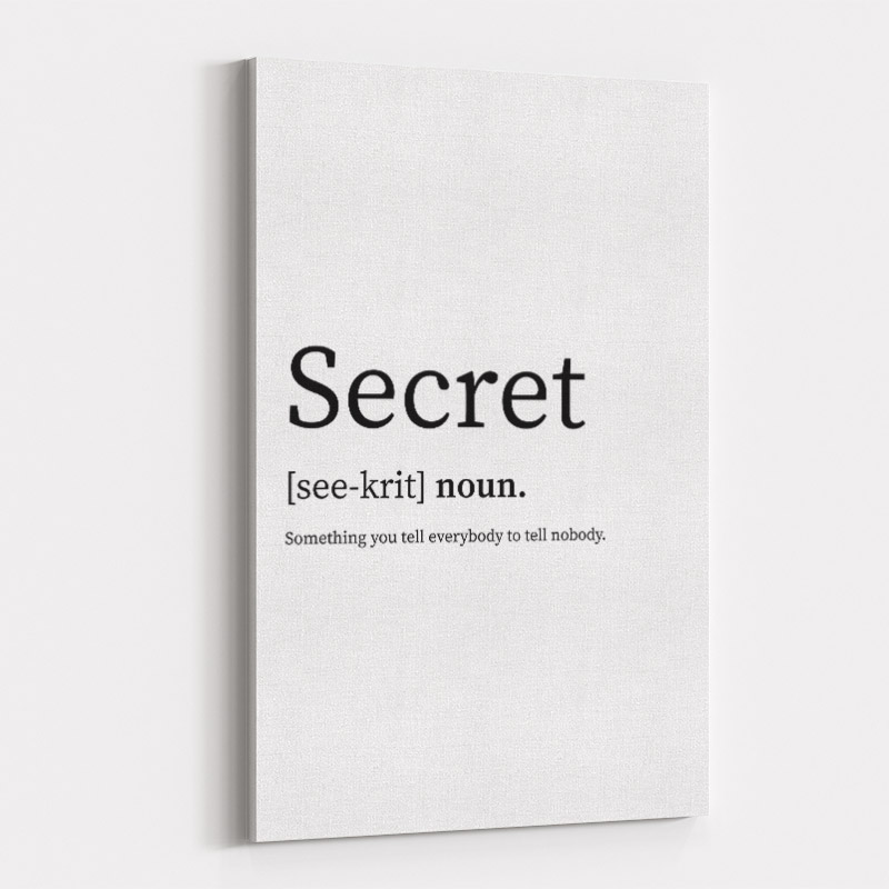 Secret Definition Typography Wall Art