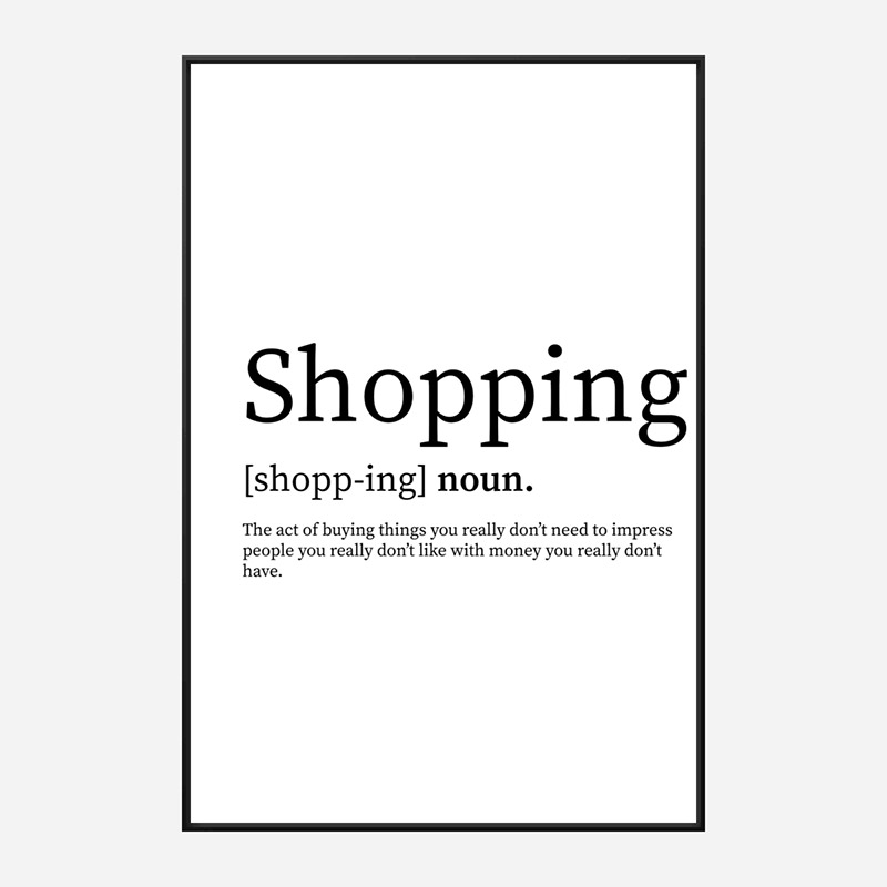 Shopping Definition Typography Wall Art
