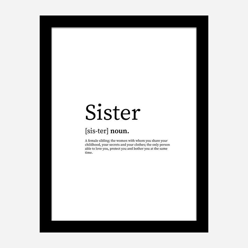 Sister Definition Typography Wall Art