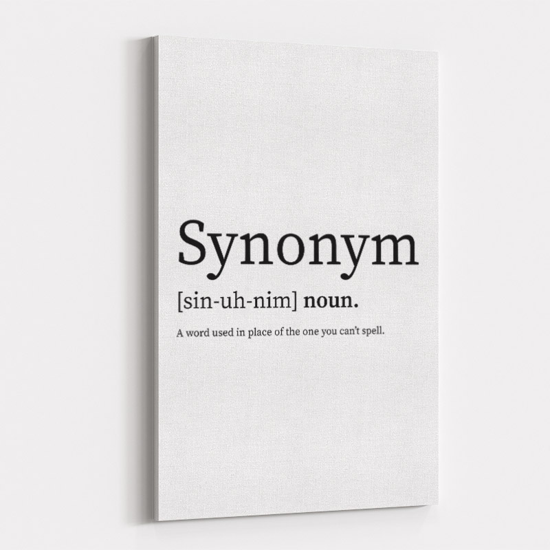 Synonym Definition Typography Wall Art