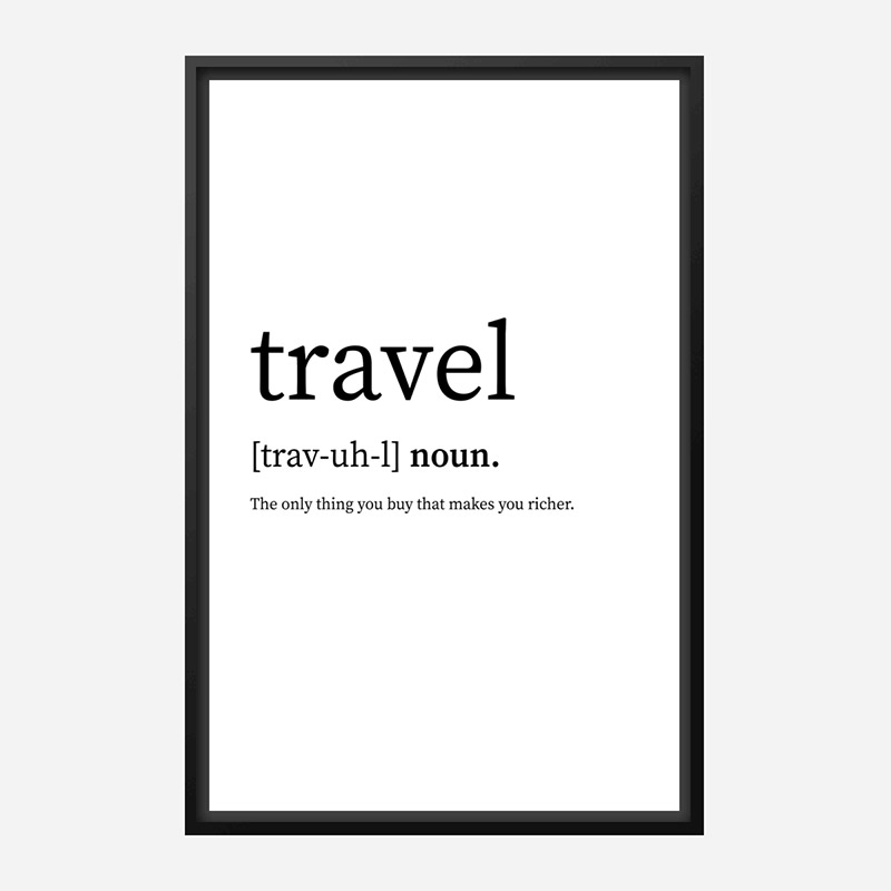 Travel Definition Typography Wall Art