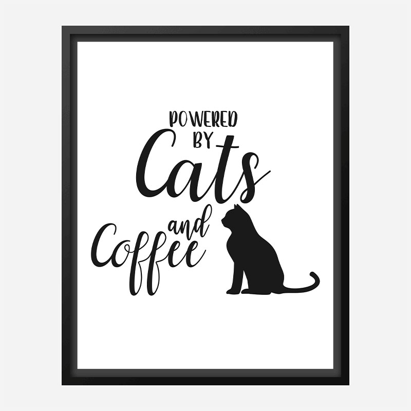 Powered By Cats and Coffee Art Print