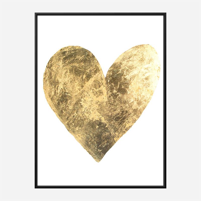 Golden Heart Typography Art Print