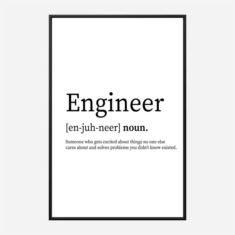 Engineer Definition Typography Wall Art