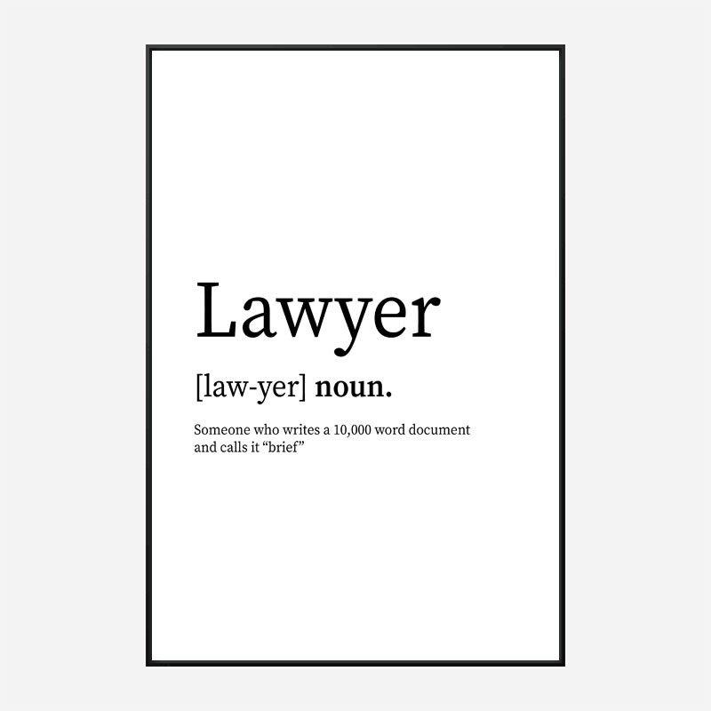 Lawyer Definition Typography Wall Art