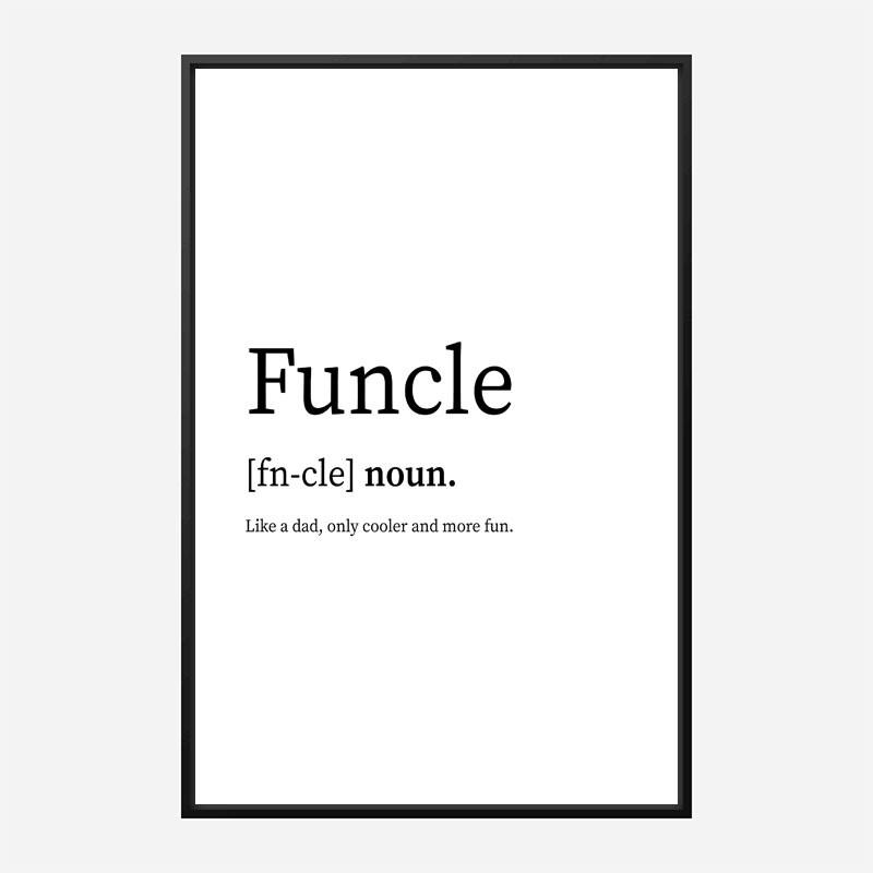 Funcle Definition Typography Wall Art