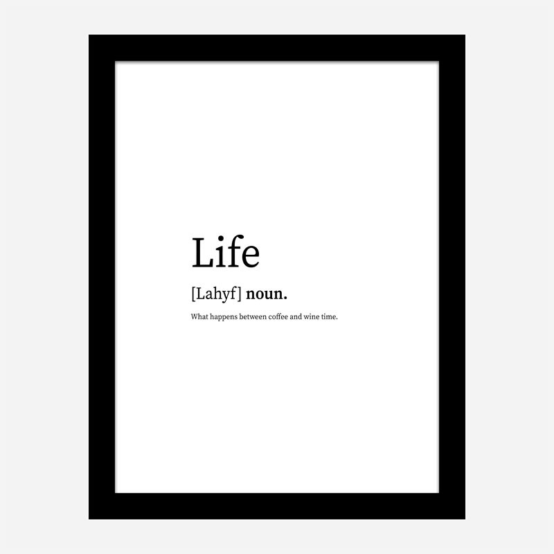 Life Definition Typography Wall Art