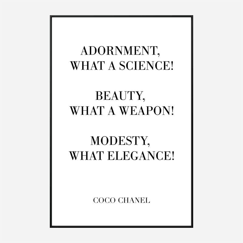 Coco Chanel Adornment Quote Art Print
