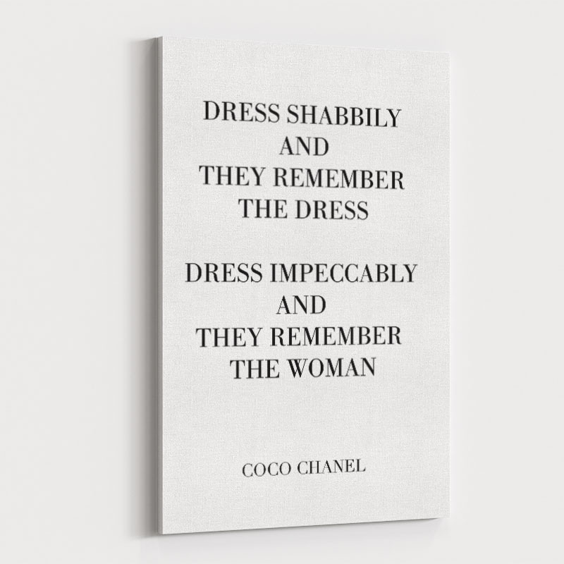 Coco Chanel Dress Impeccably Quote Art Print