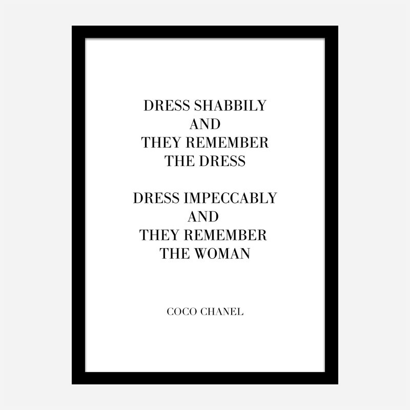 Coco Chanel Dress Impeccably Quote Art Print