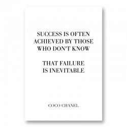 Coco Chanel Success Quote Art Print