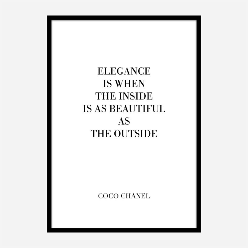 Coco Chanel Elegance Quote Art Print